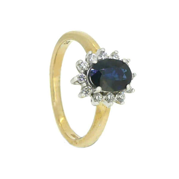 Sapphire & Diamond Oval Cluster Ring 9ct Gold