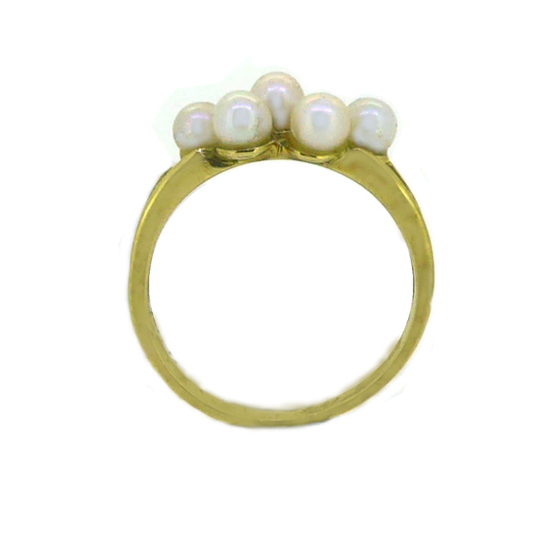 5 Cultured Pearl Ring 9ct Gold