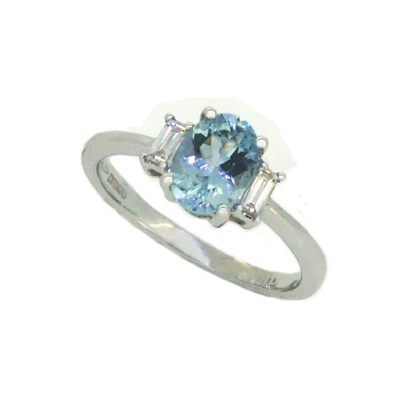 Aquamarine & Diamond 3 Stone Ring 18ct White Gold