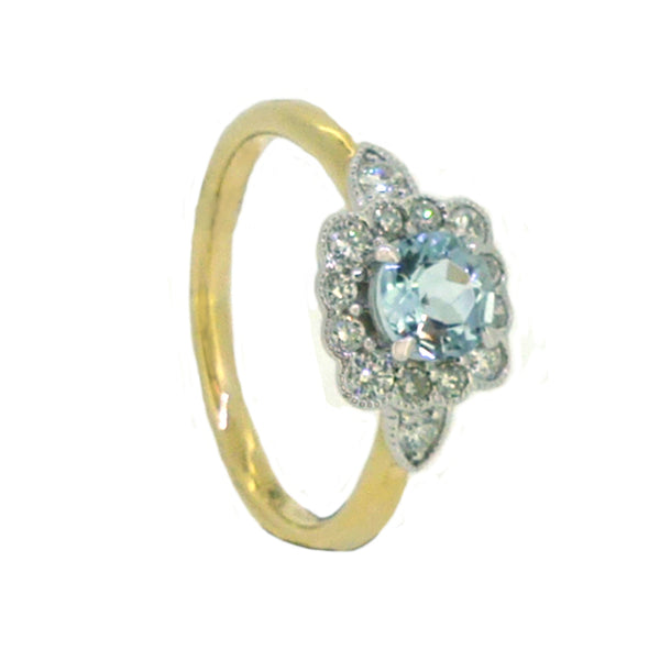 Aquamarine & Diamond Vintage Style Ring 9ct Gold