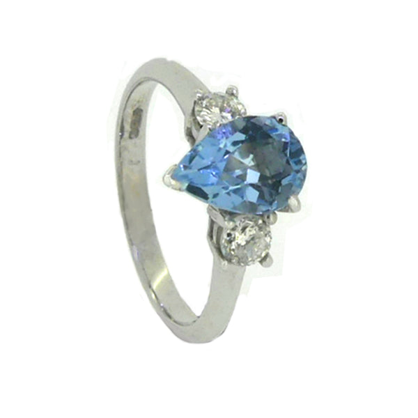 Pear Shaped Aquamarine & Diamond 3 Stone Ring 18ct White Gold