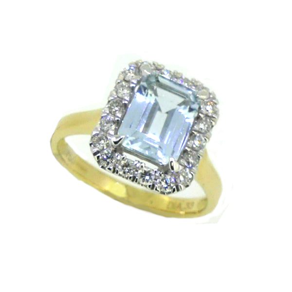 Aquamarine 1.33ct & Diamond Oblong Ring 18ct Gold
