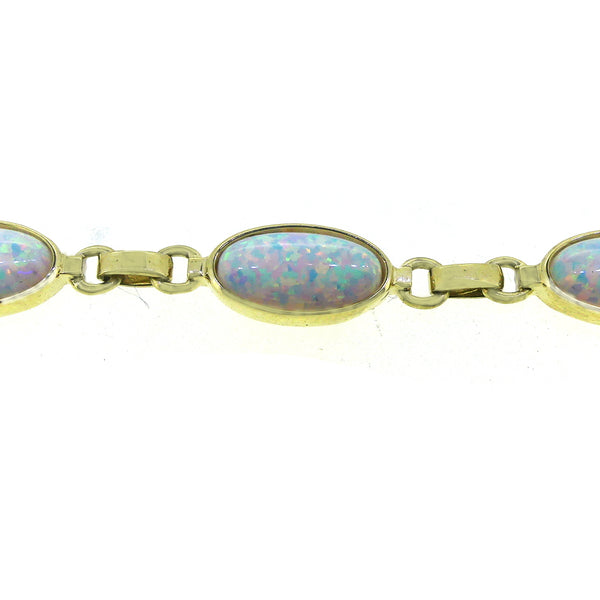 9ct Yellow Gold Cultured Opal Bracelet