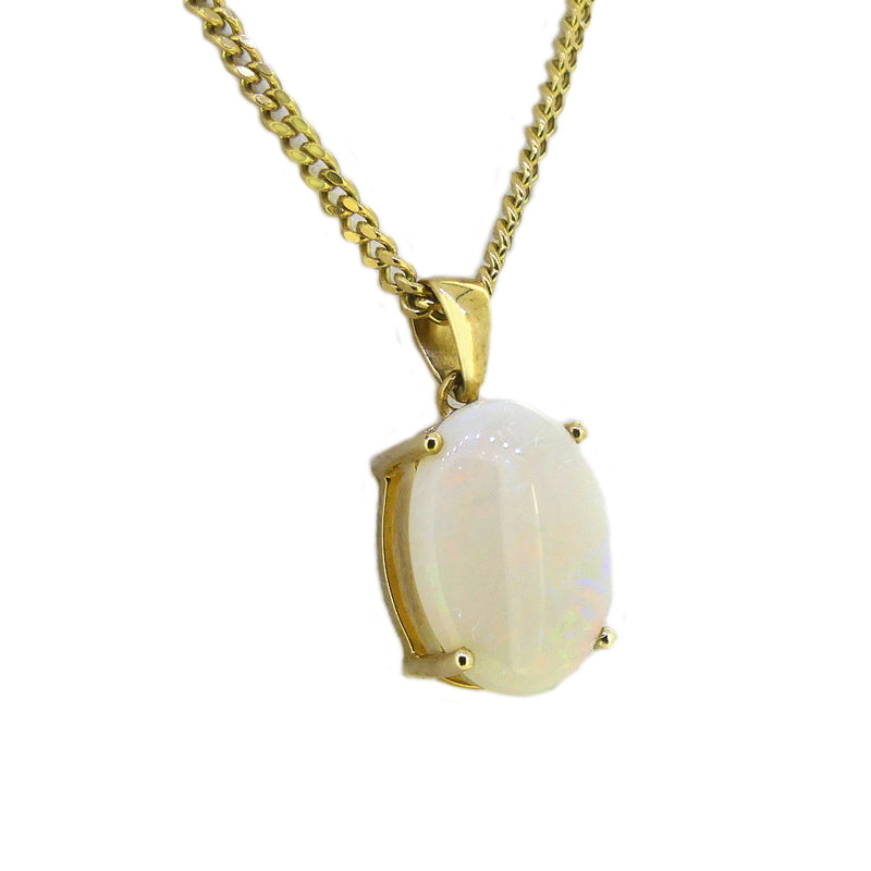 9ct Gold Oval 14 x 10mm 3.00ct Opal Necklace
