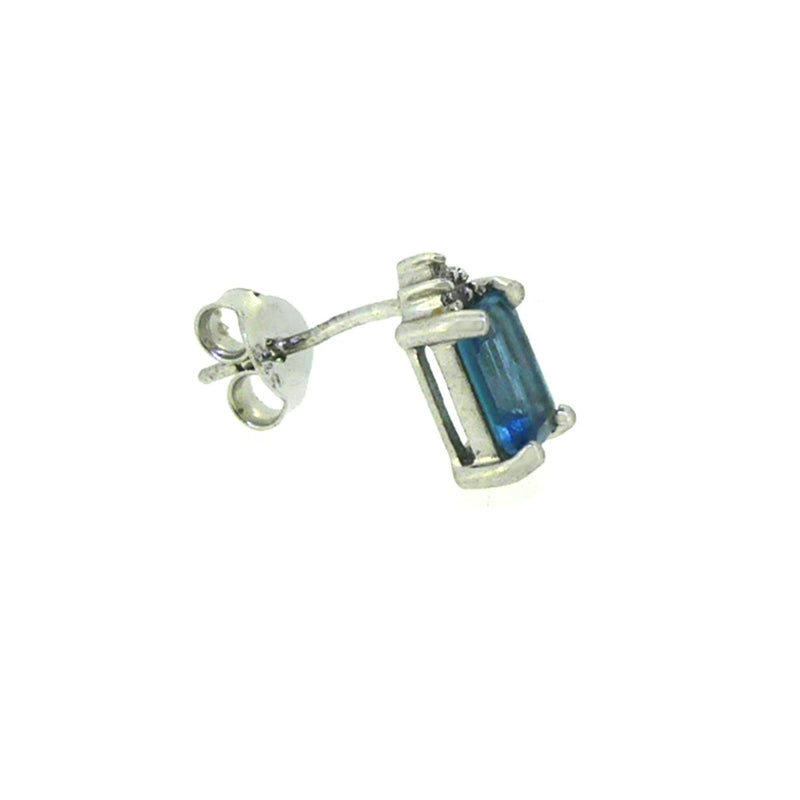 9ct White Gold Emerald Cut Blue Topaz & Diamond Earrings