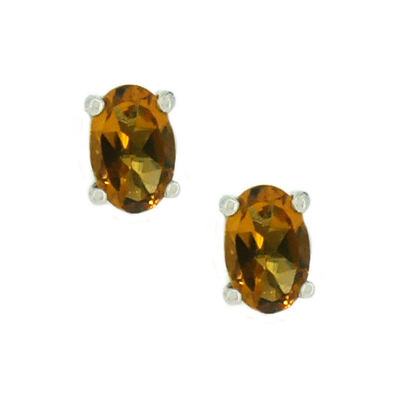 9ct White Gold Oval Citrine Stud Earrings