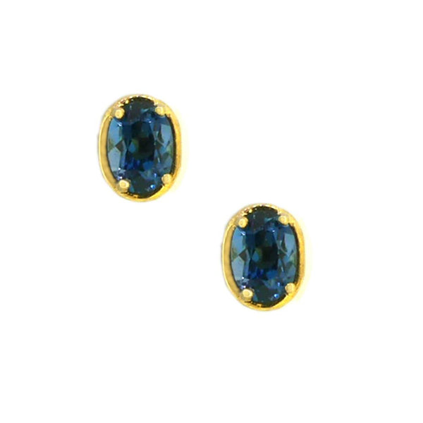 9ct Yellow Gold Royal Blue Topaz Stud Earrings