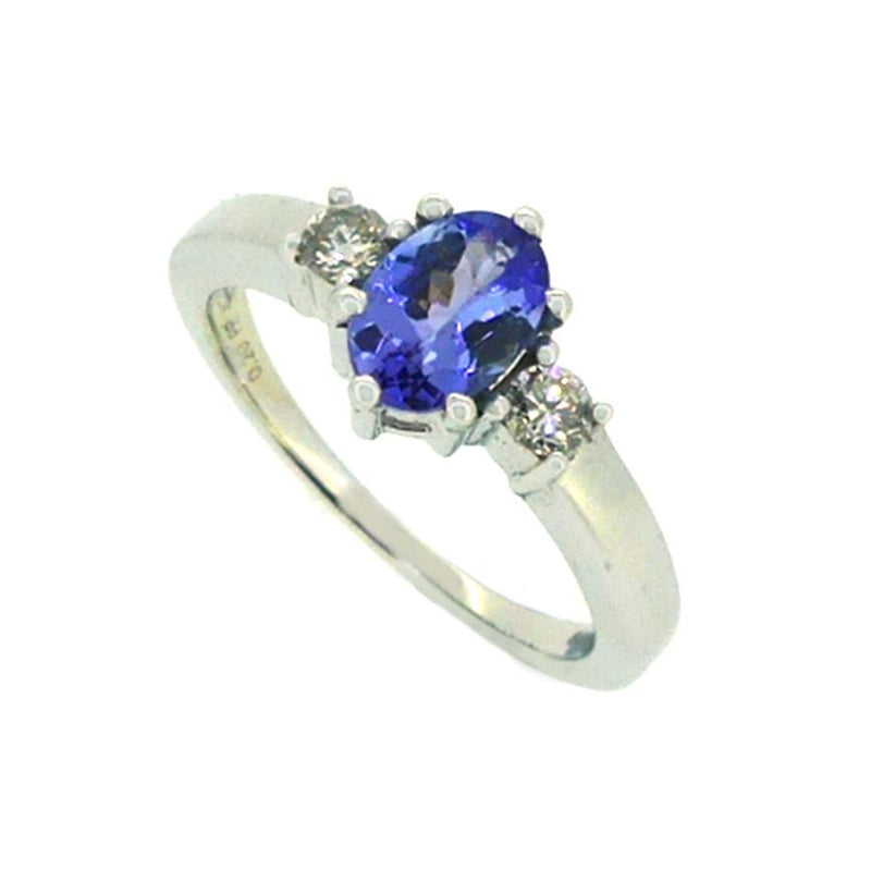 Tanzanite & Diamond Ring 9ct White Gold