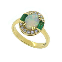 Opal, Emerald & Diamond Vintage Style Ring 9ct Gold