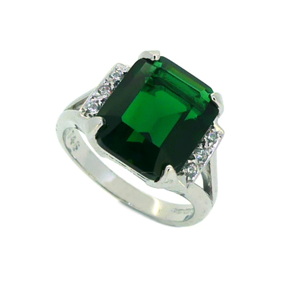 Sterling Silver Synthetic Emerald & CZ Dress Ring