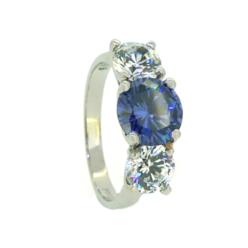 Sterling Silver 3 Stone CZ Dress Ring