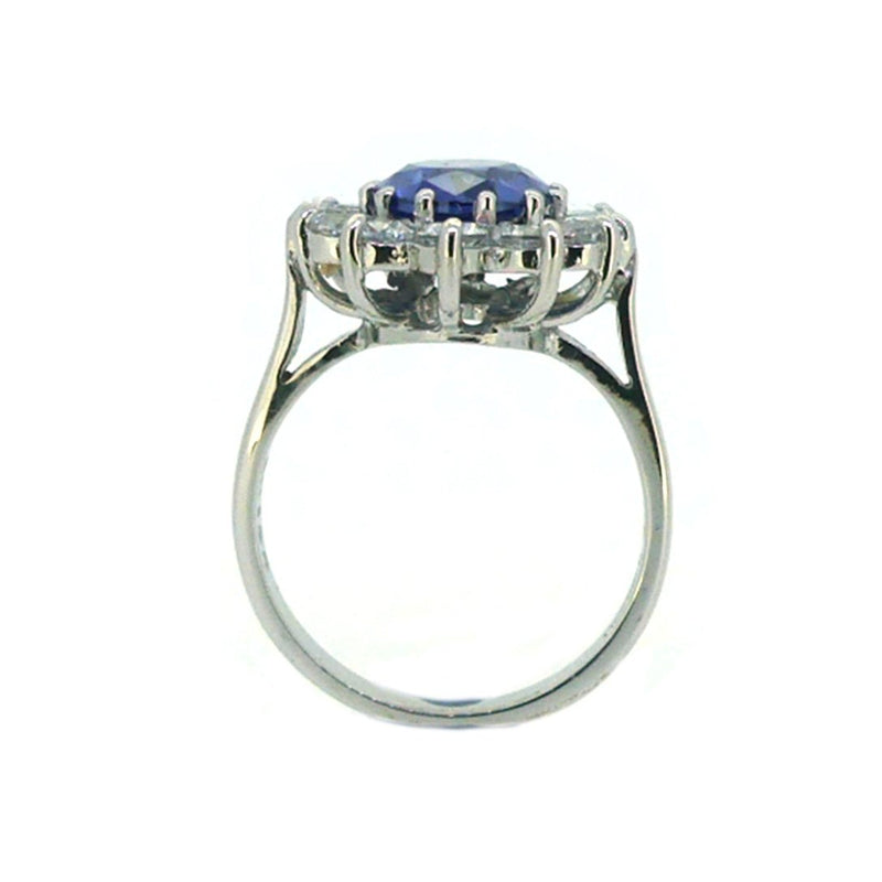 Sterling Silver Tanzanite CZ Cluster Ring