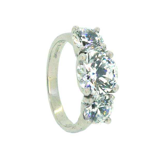 Sterling Silver 3 Stone CZ Dress Ring SH665