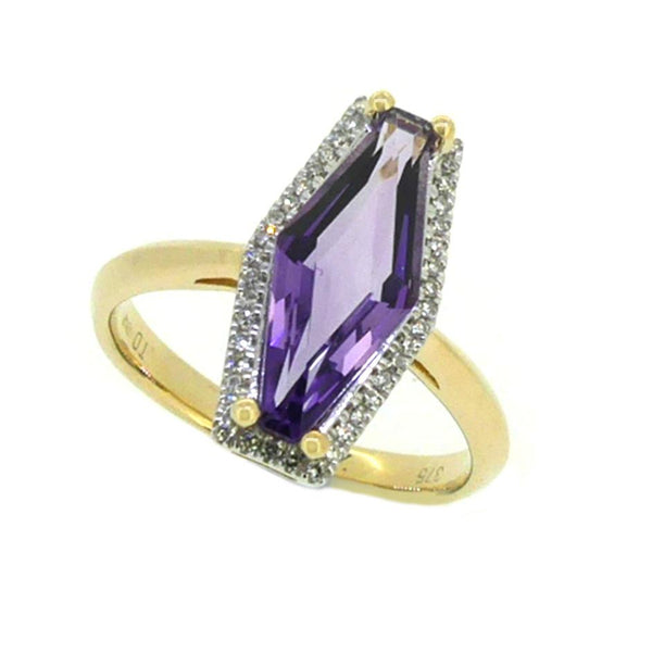 Hexagonal Cut Amethyst & Diamond Ring 9ct Gold