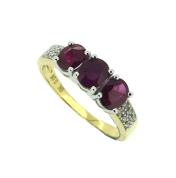 Ruby & Diamond 3 Stone Ring 9ct Gold