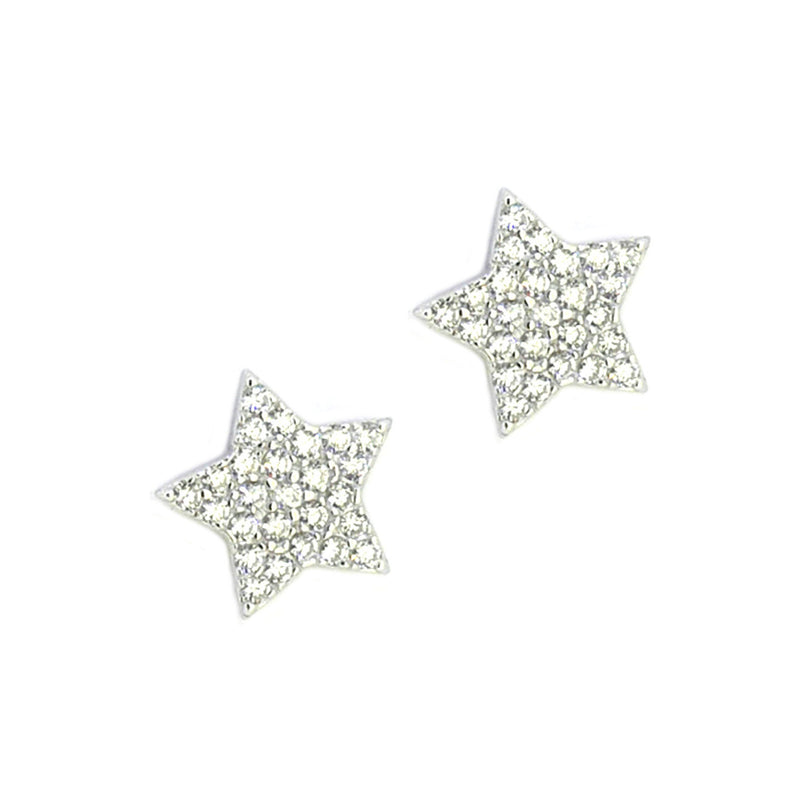 Sterling Silver CZ Star Stud Earrings