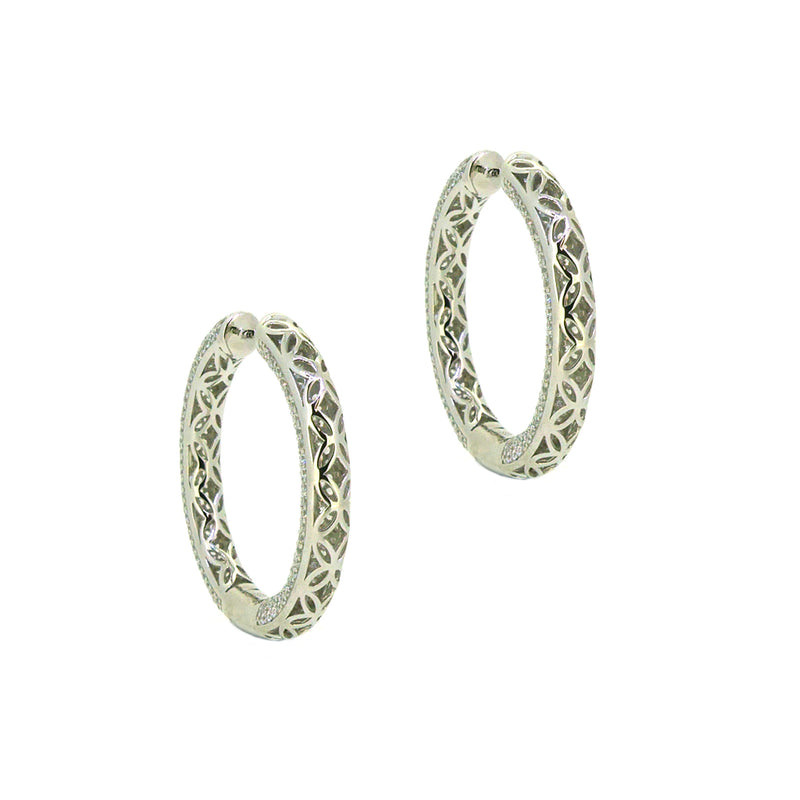 Sterling Silver Pave CZ Huggy Earrings Rear