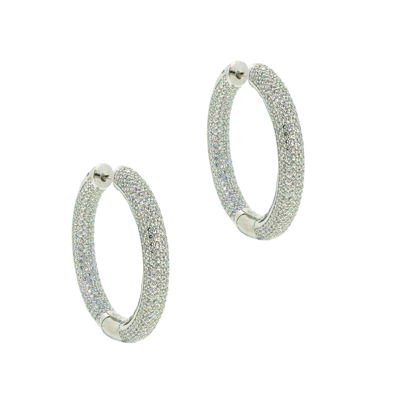 Sterling Silver Pave CZ Huggy Earrings