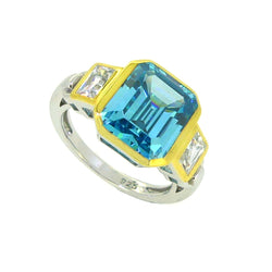 Sterling Silver Blue & Yellow CZ Ring