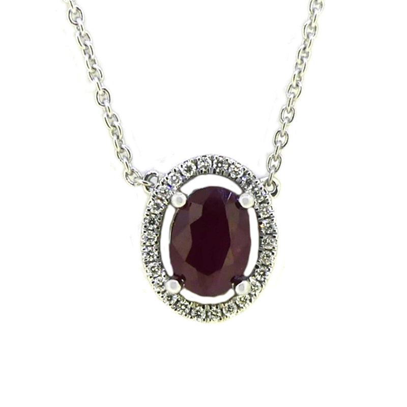 18ct White Gold Ruby & Diamond Halo Necklace
