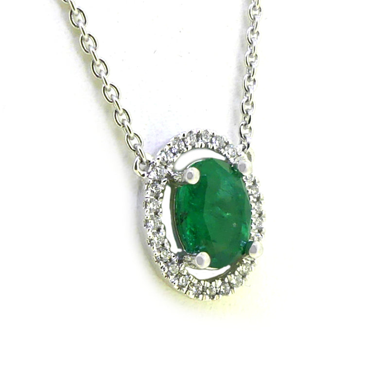 18ct White Gold Emerald & Diamond Halo Necklace