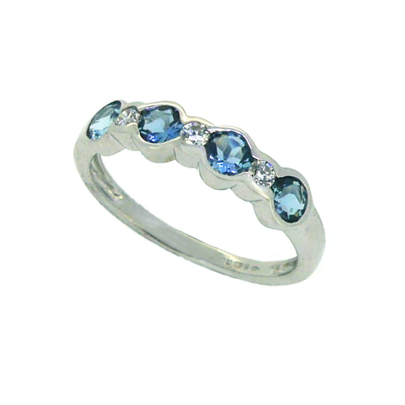 Aquamarine & Diamond 7 Stone Ring 18ct White Gold