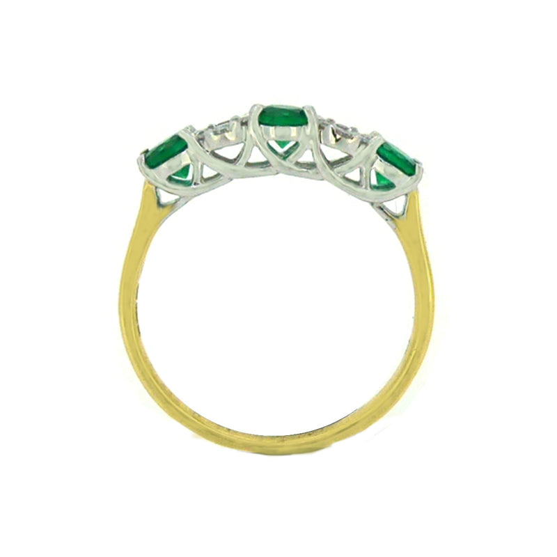 Emerald & Diamond 17 Stone Eternity Ring 18ct Yellow Gold side view