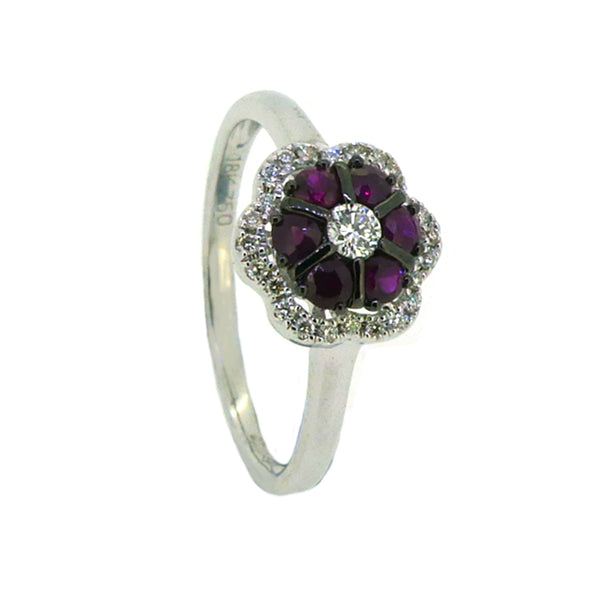 Ruby & Diamond Daisy Cluster Ring 18ct White Gold