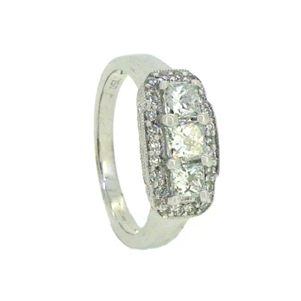 Princess Cut Diamond Trilogy Halo Ring 0.80ct 18ct White Gold