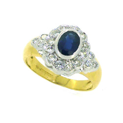 18ct Yellow Gold Sapphire & Diamond Oval Cluster Ring