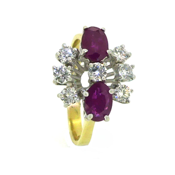 Ruby & Diamond 9 Stone Cluster Ring 18ct Gold