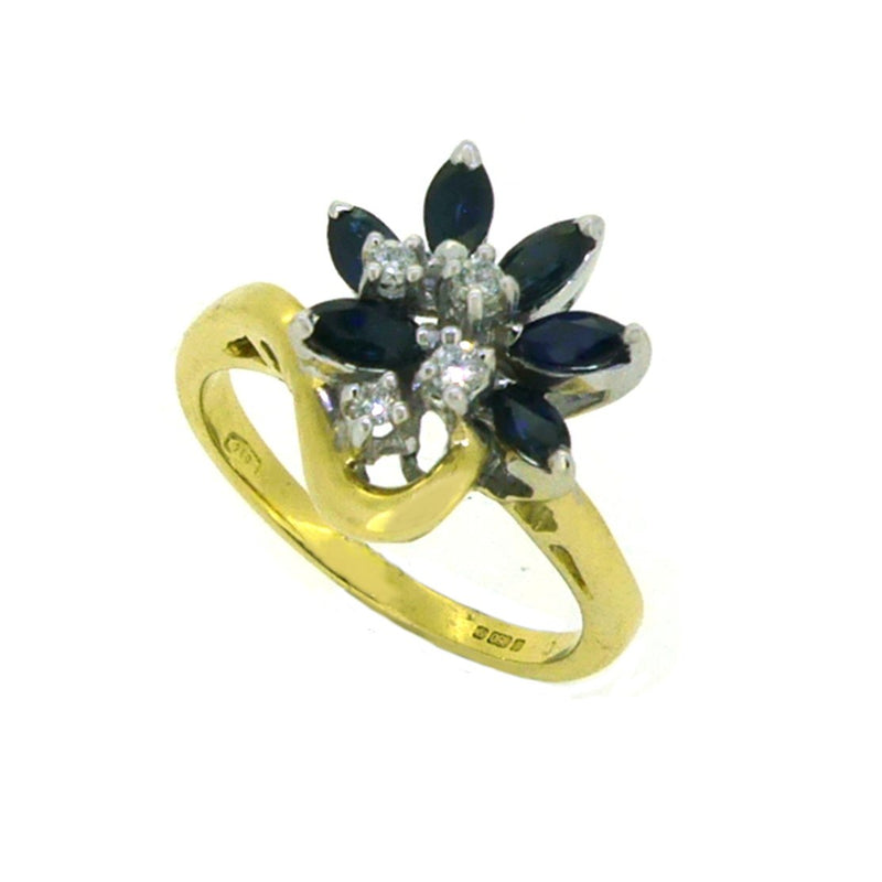 18ct Yellow Gold Marquise Sapphire & Diamond Ring