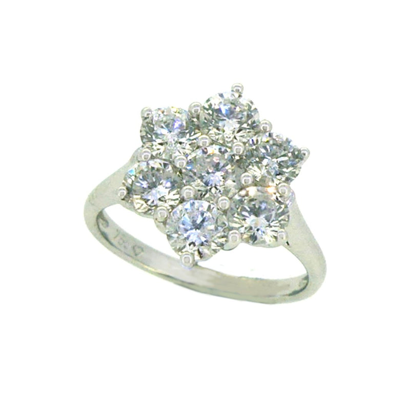 Diamond 2.15ct Daisy Cluster Ring 18ct White Gold