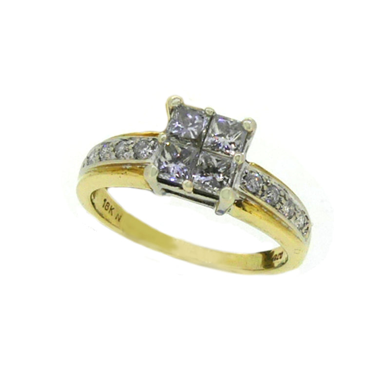 Pre Owned Princess Cut Diamond Cluster Ring 18ct Gold