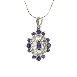 Amethyst & Diamond 9ct White Gold Pendant