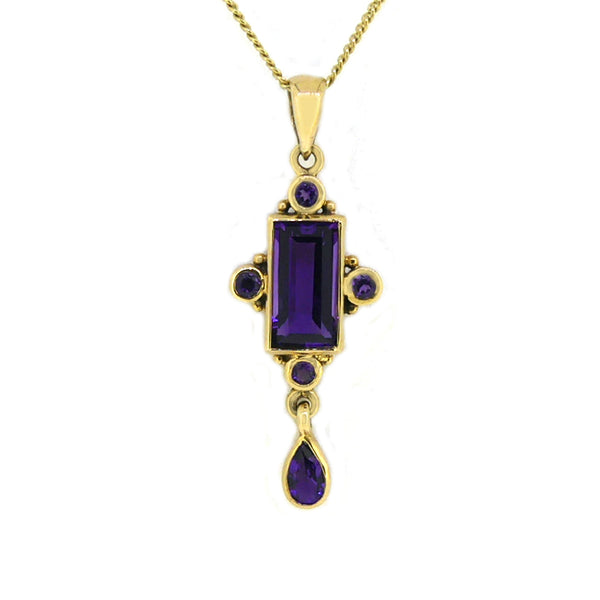 Amethyst Deco Style Pendant 9ct Gold