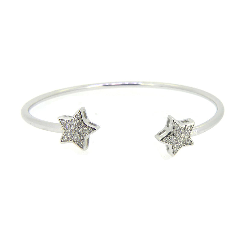 Sterling Silver CZ Star Cuff Bangle