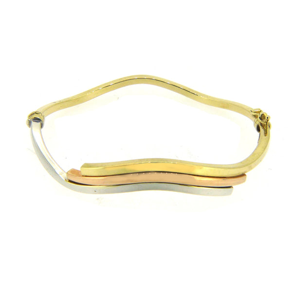 9ct 3 Colour Gold Wave Hinged Bangle