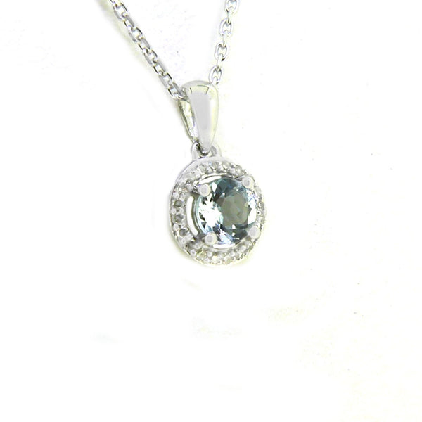 Aquamarine & Diamond Pendant and Chain 9ct White Gold Side