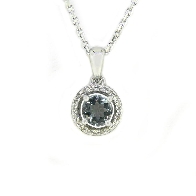 Aquamarine & Diamond Pendant and Chain 9ct White Gold