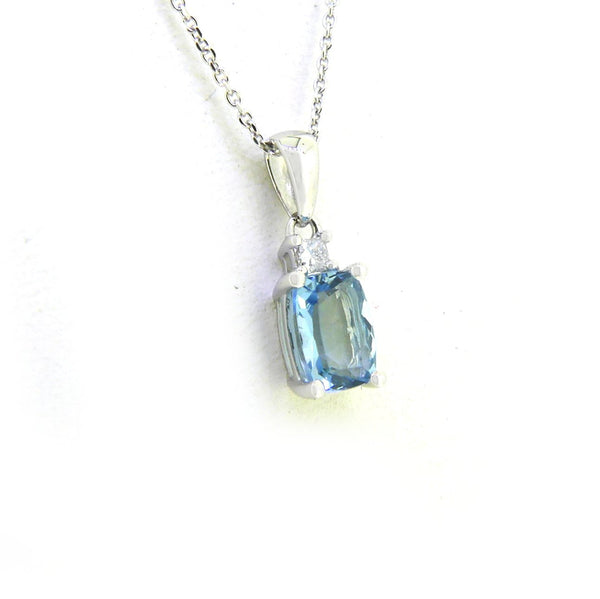 Oval Aquamarine & Diamond Pendant and Chain 18ct White Gold Side