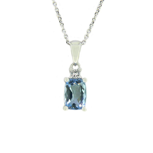 Oval Aquamarine & Diamond Pendant and Chain 18ct White Gold