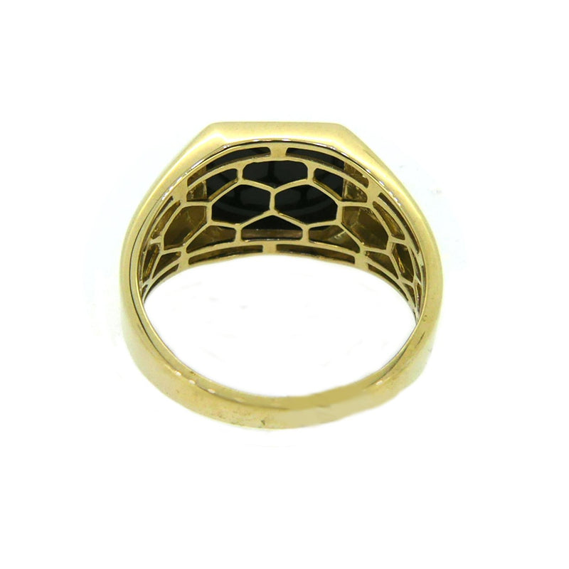 Octagonal Onyx & Diamond Signet Ring 9ct Gold rear