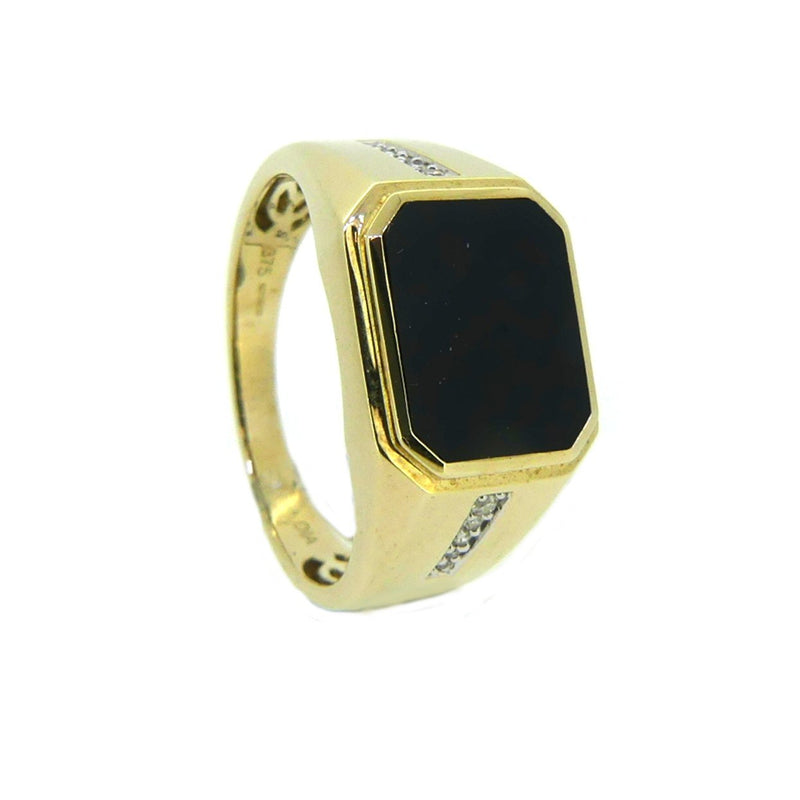 Octagonal Onyx & Diamond Signet Ring 9ct Gold