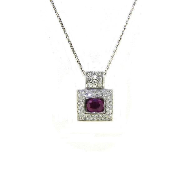 18ct White Gold Ruby & Diamond Square Necklace