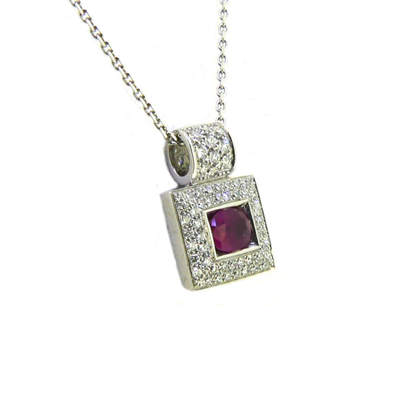 18ct White Gold Ruby & Diamond Square Necklace - Side