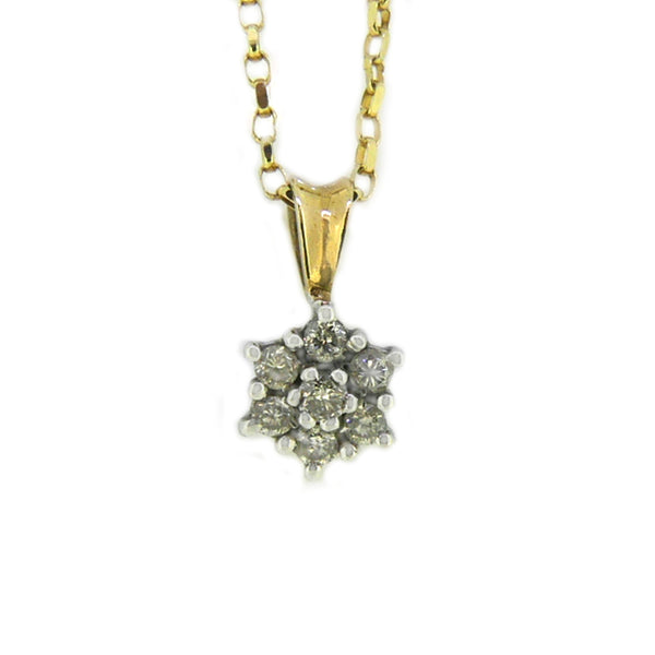 9ct Yellow Gold Diamond 7 Stone Cluster Pendant