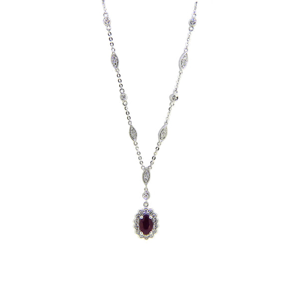 9ct White Gold Ruby & Diamond Necklace 61883