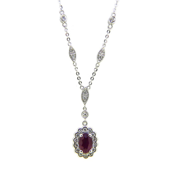 9ct White Gold Ruby & Diamond Necklace 61880-2