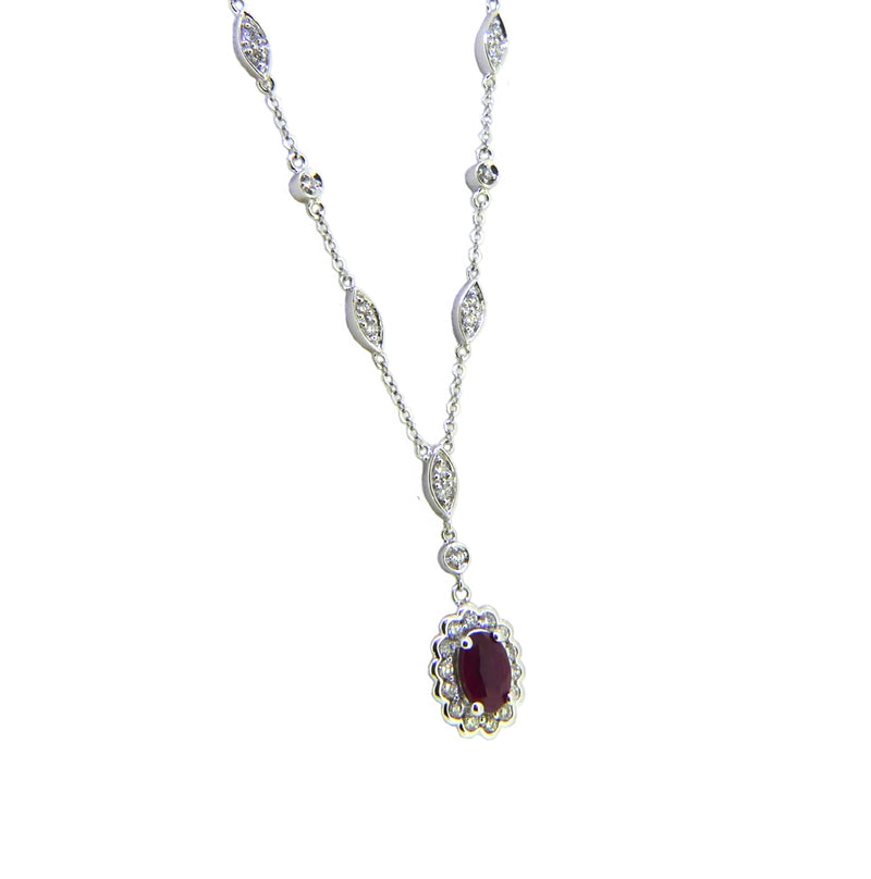 9ct White Gold Ruby & Diamond Necklace 61883-3